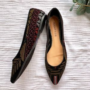 Rampage black Aztec pointed toe flats NWOB
